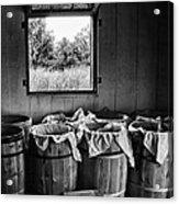 Barrels Of Beans - Bw Acrylic Print