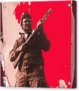 Barry Sadler Machine Gun Authentic Ww2 Africa Korps Hat Camouflage Clothes Collage Tucson 1971-2012 Acrylic Print