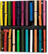 Bars Of Bright And Colorful Pastel On Black Background Acrylic Print
