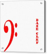 Base Clef - Music Symbol - Red Acrylic Print