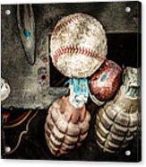 Baseball And Hand Grenades Acrylic Print