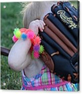 Baseball And Little Girls Acrylic Print