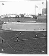 Baseball At Yankee Stadium Acrylic Print by Underwood Archives