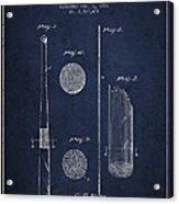 Baseball Bat Patent Drawing From 1921 Acrylic Print