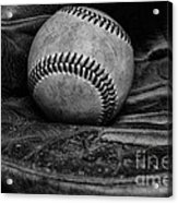 Baseball Broken In Black And White Acrylic Print by Paul Ward