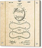 Baseball By John E. Maynard - Vintage Patent Document Acrylic Print