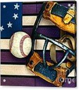Baseball Catchers Mask Vintage On American Flag Acrylic Print
