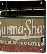 Baseball Field Burma Shave Sign Acrylic Print