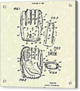Baseball Glove 1970 Patent Art Acrylic Print by Prior Art Design