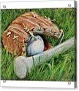 Baseball Glove Bat And Ball Acrylic Print