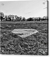 Baseball - Home Plate - Black And White Acrylic Print by Paul Ward