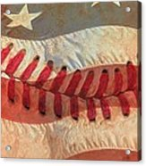 Baseball Is Sewn Into The Fabric Acrylic Print by Heidi Smith