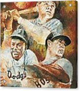Baseball Legends Babe Ruth Jackie Robinson And Ted Williams Acrylic Print by Christiaan Bekker