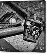 Baseball Play Ball In Black And White Acrylic Print