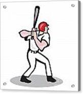 Baseball Player Batting Side Cartoon Acrylic Print by Aloysius Patrimonio