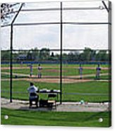 Baseball Playing Hard 3 Panel Composite 01 Acrylic Print