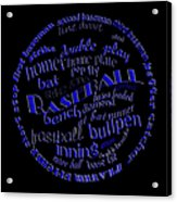 Baseball Terms Typography Blue On Black Acrylic Print