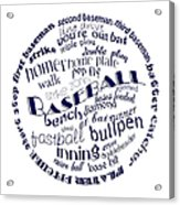 Baseball Terms Typography Blue On White Acrylic Print