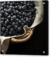 Basket Full Fresh Picked Blueberries Acrylic Print by Edward Fielding