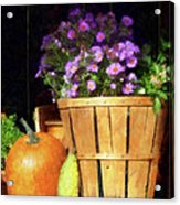 Basket Of Asters With Pumpkin And Gourd Acrylic Print