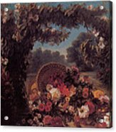 Basket Of Flowers In A Park Acrylic Print by Eugene Delacroix