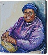 Basket Weaver In Blue Hat Acrylic Print by Sharon Sorrels