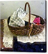 Basket With Cloth And Measuring Tape Acrylic Print