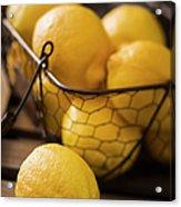 Basket With Organic Lemons Fresh From Acrylic Print
