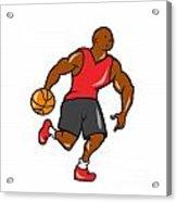 Basketball Player Dribbling Ball Cartoon Acrylic Print