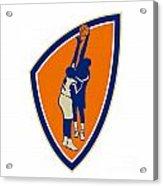 Basketball Player Dunk Block Ball Shield Retro Acrylic Print by Aloysius Patrimonio