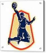 Basketball Player Dunk Rebound Ball Retro Acrylic Print by Aloysius Patrimonio