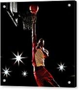 Basketball Player Dunking Basketball On Acrylic Print