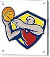 Basketball Player Laying Up Ball Retro Acrylic Print