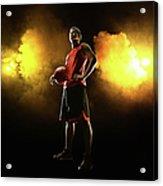 Basketball Player On Smoky Yellow Acrylic Print