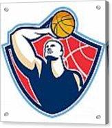 Basketball Player Rebounding Ball Retro Acrylic Print by Aloysius Patrimonio
