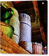 Baskets And Barrels In Attic Acrylic Print