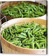 Baskets Of Fresh Picked Peas Acrylic Print by Edward Fielding