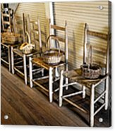Baskets On Ladder Back Chairs Acrylic Print by Lynn Palmer