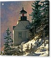 Bass Harbor Light In A Winter Storm Acrylic Print