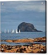 Bass Rock And Sail Boats Acrylic Print