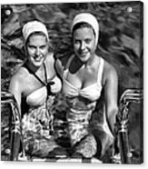 Bathing Beauties Black And White Acrylic Print