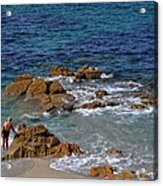 Bathing In The Sea - La Coruna Acrylic Print by Mary Machare