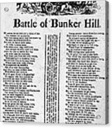 Battle Of Bunker Hill Acrylic Print