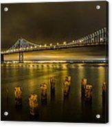Bay Bridge And Clouds At Night Acrylic Print