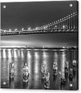 Bay Bridge Black And White Acrylic Print