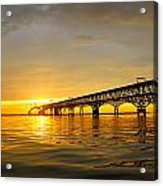 Bay Bridge Sunset Glow Acrylic Print