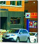 Bbq Coreen Korean Resto Cavendish St Jacques Montreal Summer Cafe City Scene Carole Spandau Acrylic Print
