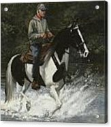 Big Creek Man On Spotted Horse Acrylic Print