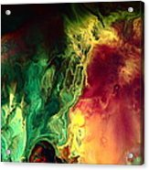 Be Together - Red Green Abstract Art By Kredart Acrylic Print