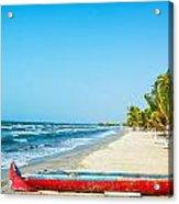 Beach And Red Canoe Acrylic Print